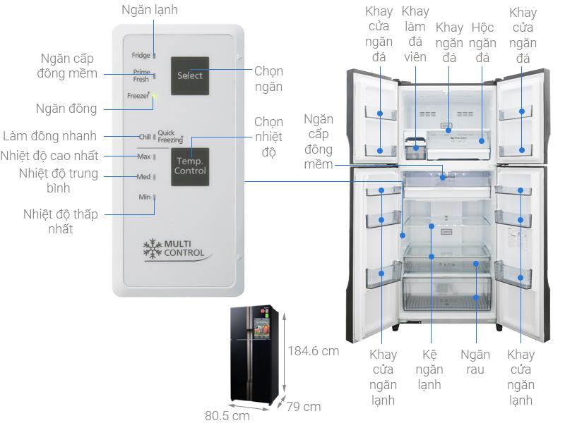 Thông số kỹ thuật Tủ lạnh Panasonic Inverter 550 lít NR-DZ600GKVN