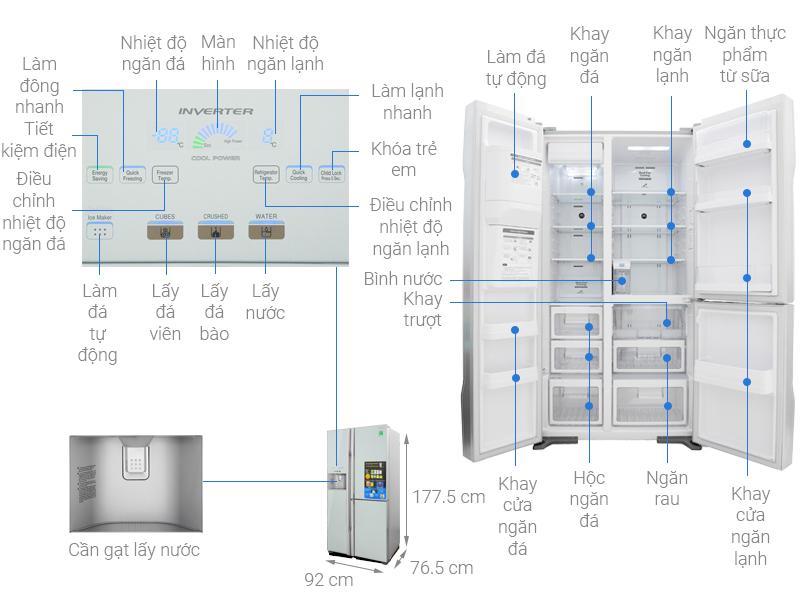 Thông số kỹ thuật Tủ lạnh Hitachi Inverter 584 lít R-M700GPGV2 GS