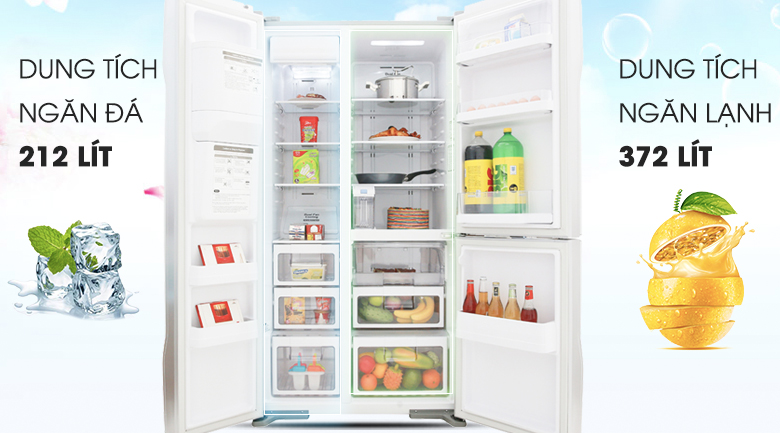 Dung tích 584 lít, thoải mái sử dụng - Tủ lạnh Hitachi Inverter 584 lít R-M700GPGV2 GS