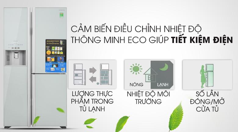 Cảm biến Eco thông minh, tối ưu năng lượng - Tủ lạnh Hitachi Inverter 584 lít R-M700GPGV2 GS