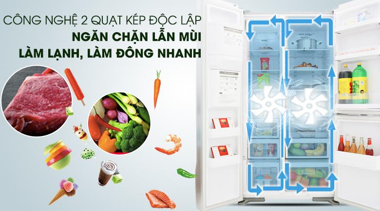 Hệ thống làm lạnh kép độc lập các ngăn - Tủ lạnh Hitachi Inverter 584 lít R-M700GPGV2 GS