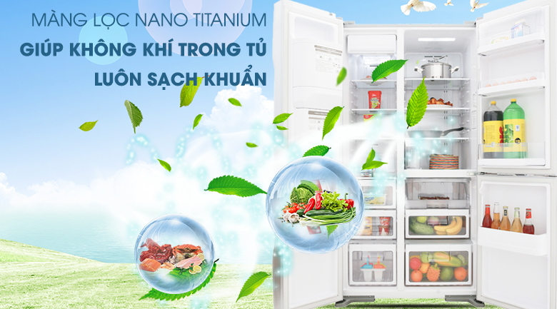Lọc sạch không khí với bộ lọc công nghệ Nano Titanium - Tủ lạnh Hitachi Inverter 584 lít R-M700GPGV2 GS