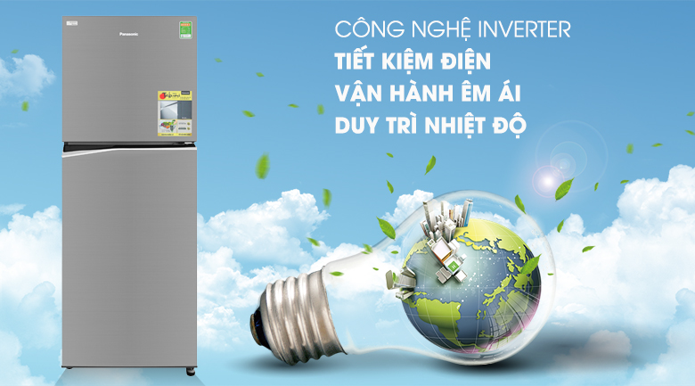 Hoạt động êm ái với công nghệ Inverter - Tủ lạnh Panasonic Inverter 306 lít NR-BL340PSVN