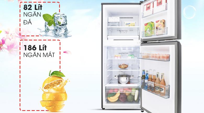 Dung tích sử dụng 290 lít phù hợp cho gia đình có 2 - 3 thành viên sử dụng thoải  mái. - Tủ lạnh Panasonic Inverter 268 lít NR-BL300GAVN