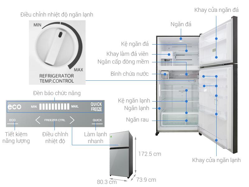 Thông số kỹ thuật Tủ lạnh Toshiba Inverter 555 lít GR-AG58VA (X)