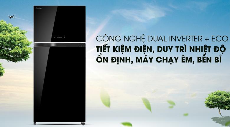 Công nghệ Dual Inverter kết hợp chế độ Eco tiết kiệm tối ưu hơn - Tủ lạnh Toshiba Inverter 608 lít GR-AG66VA (XK)