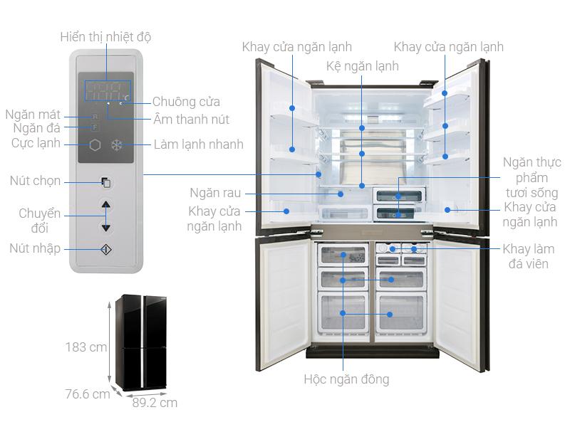 Thông số kỹ thuật Tủ lạnh Sharp Inverter 605 lít SJ-FX688VG-BK