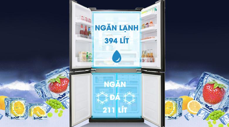 Tủ lạnh Sharp Inverter 605 lít SJ-FX688VG-BK - Dung tích lên đến 605 lít