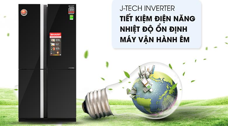 Tủ lạnh Sharp Inverter 605 lít SJ-FX688VG-BK - Công nghệ J-Tech Inverter tiết kiệm tối ưu