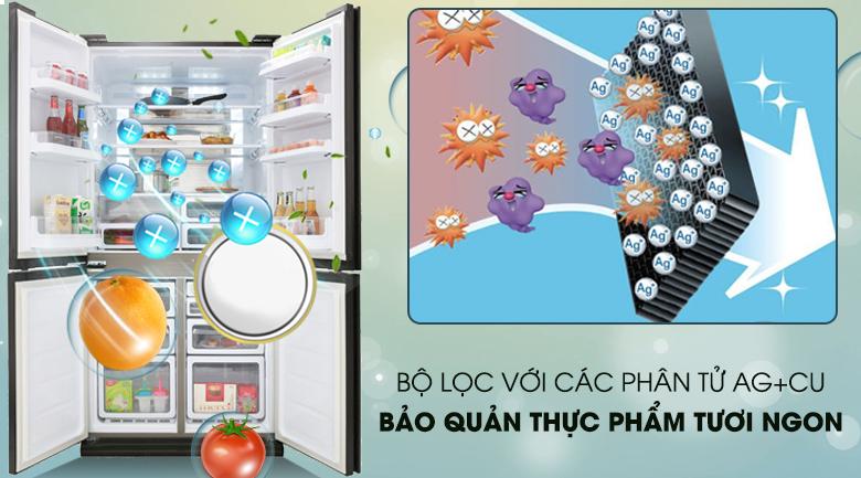 Tủ lạnh Sharp Inverter 605 lít SJ-FX688VG-BK Mẫu 2019 - Kháng khuẩn khử mùi với bộ lọc Ag+Cu