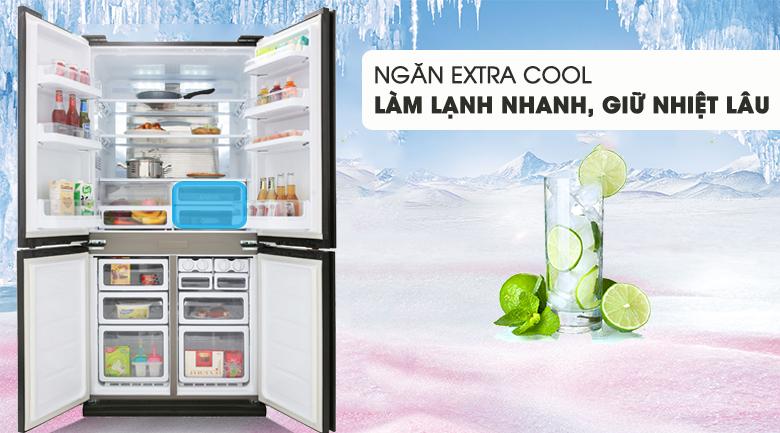 Tủ lạnh Sharp Inverter 605 lít SJ-FX688VG-BK Mẫu 2019 - Ngăn làm lạnh nhanh Extra Cool