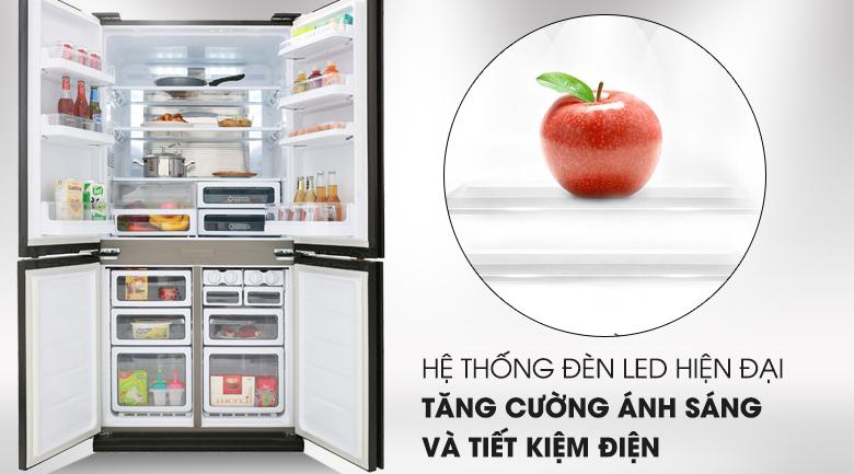 Tủ lạnh Sharp Inverter 605 lít SJ-FX688VG-BK Mẫu 2019 - Hệ thống đèn LED hiện đại