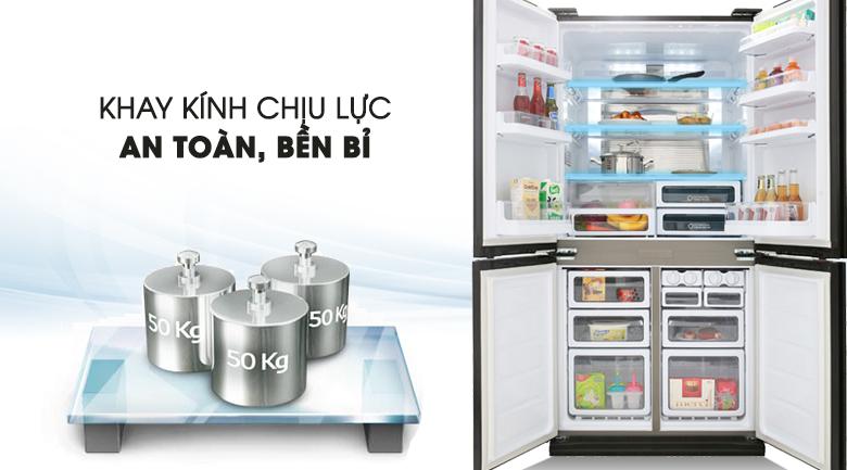 Tủ lạnh Sharp Inverter 605 lít SJ-FX688VG-BK Mẫu 2019 - Khay kính chịu lực bền bỉ