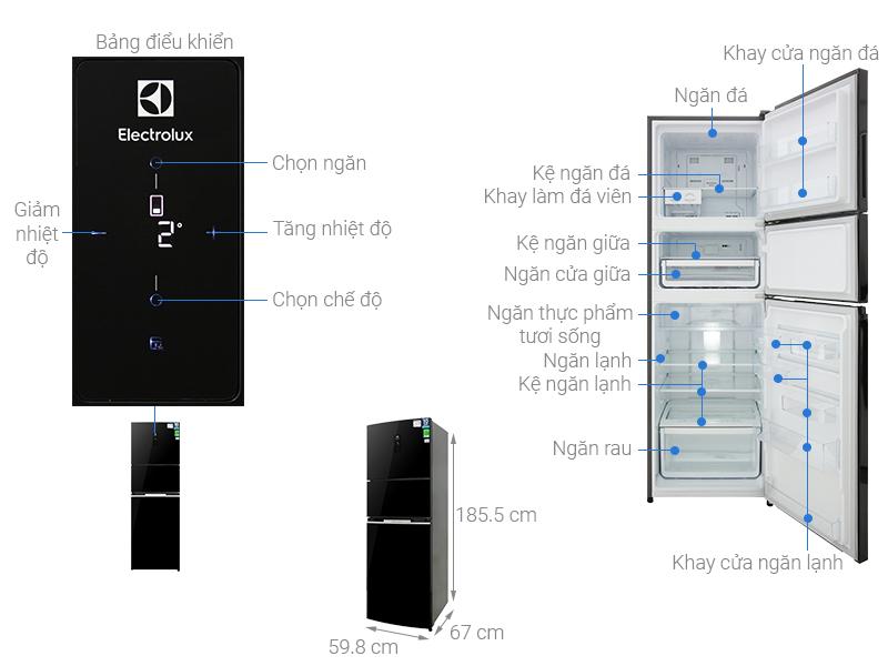 Thông số kỹ thuật Tủ lạnh Electrolux Inverter 337 lít EME3700H-H