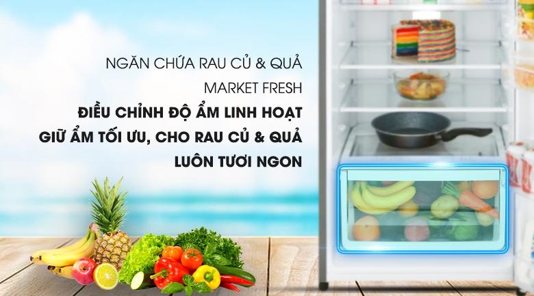 Ngăn đựng rau quả Market Fresh tiện lợi - Tủ lạnh Electrolux Inverter 334 lít EME3700H-H