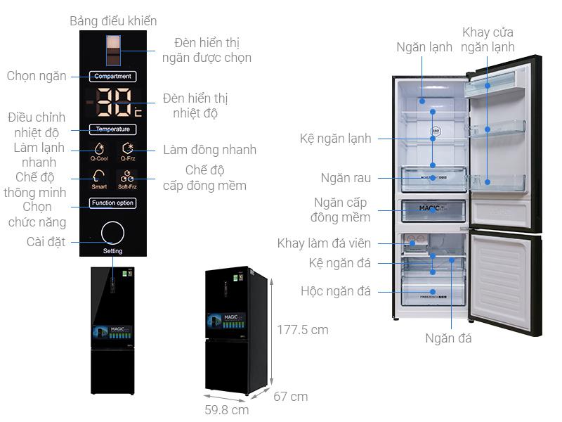 Thông số kỹ thuật Tủ lạnh Aqua Inverter 324 lít AQR-IG378EB GB