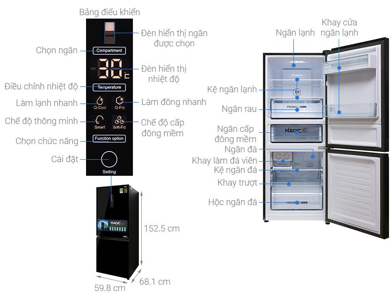 Thông số kỹ thuật Tủ lạnh Aqua Inverter 260 lít AQR-IG298EB GB