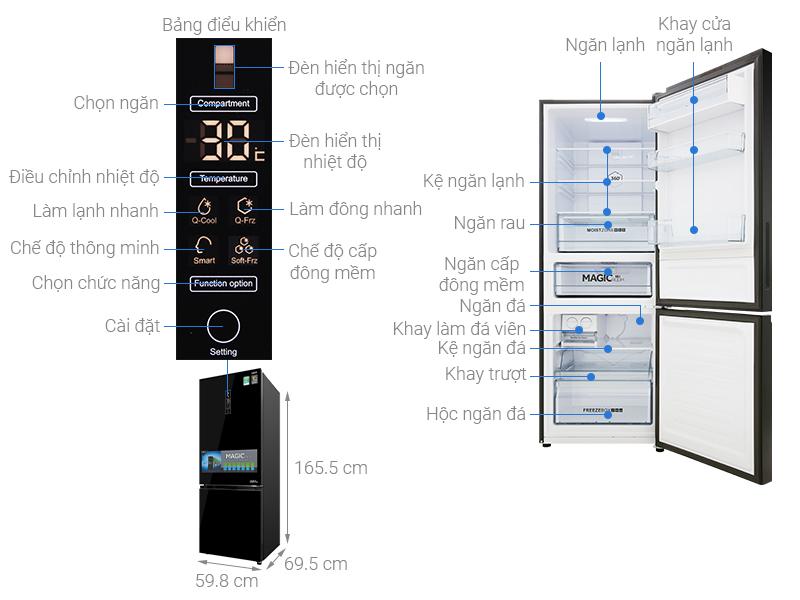 Thông số kỹ thuật Tủ lạnh Aqua 292 lít AQR-IG338EB GB