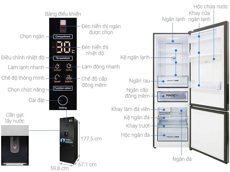 Thông số kỹ thuật Tủ lạnh Aqua Inverter 320 lít AQR-IW378EB BS