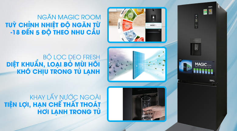 Tủ lạnh Aqua Inverter 320 lít AQR-IW378EB BS Mẫu 2019 - tại Điện Máy Xanh