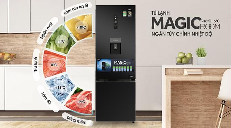 Ngăn Magic Room điều chỉnh nhiệt độ -18 độ C ~ 5 độ C - Tủ lạnh Aqua Inverter 320 lít AQR-IW378EB BS
