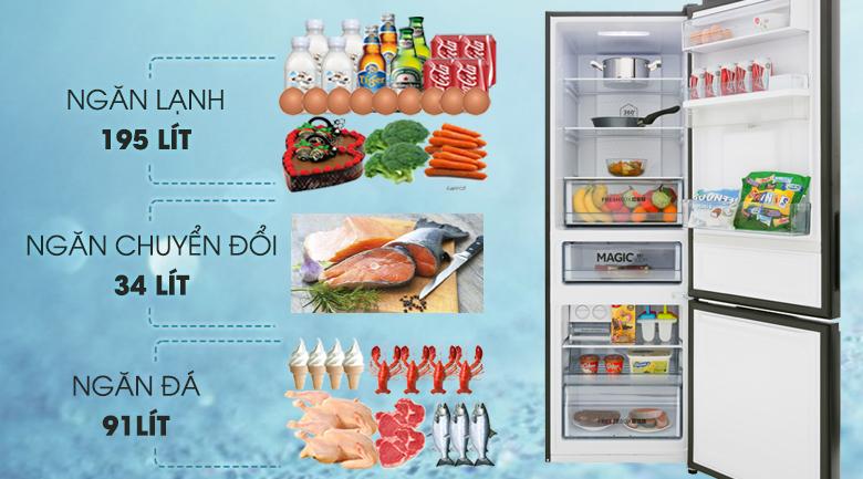 Dung tích 320 lít - Tủ lạnh Aqua Inverter 320 lít AQR-IW378EB BS