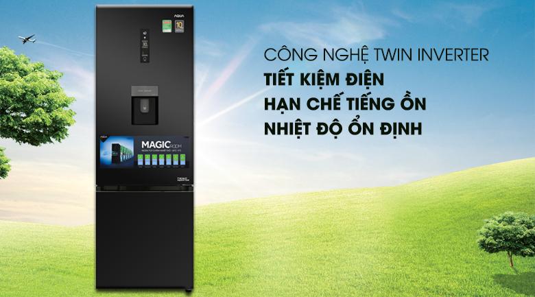 Công nghệ Inverter tiết kiệm điện - Tủ lạnh Aqua Inverter 320 lít AQR-IW378EB BS