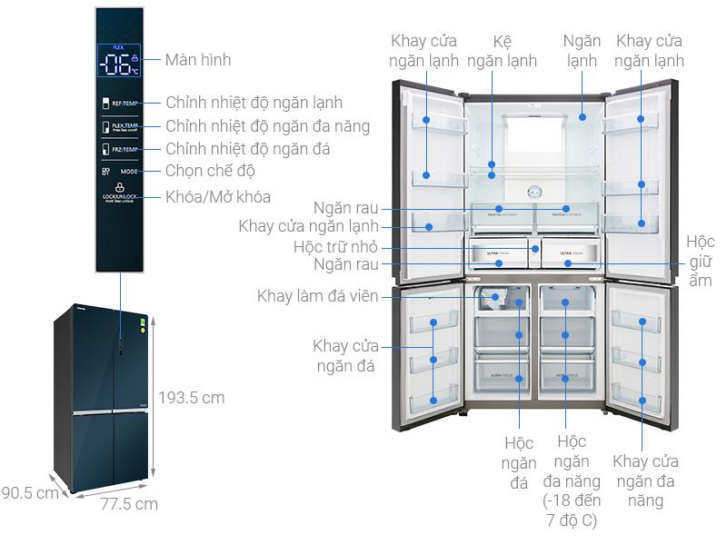 Thông số kỹ thuật Tủ lạnh Toshiba Inverter 622 lít GR-RF646WE-PGV(24)