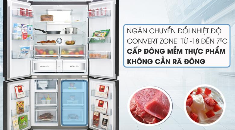 Ngăn chuyển đổi linh hoạt Convert Zone và cấp đông mềm -3 độ C bảo quản thực phẩm tươi sống không cần rã đông - Tủ lạnh Toshiba Inverter 622 lít GR-RF646WE-PGV(24) Mẫu 2019