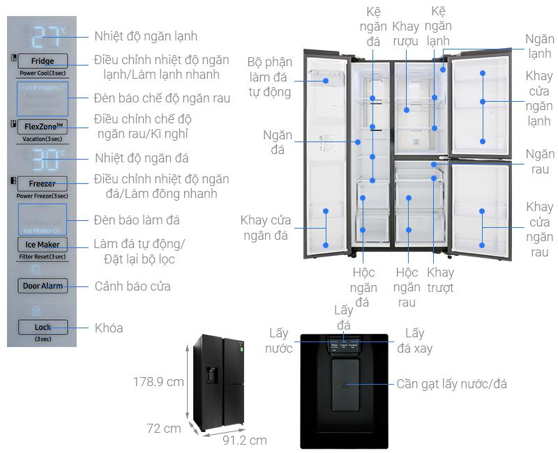 Thông số kỹ thuật Tủ lạnh Samsung Inverter 602 lít RS65R5691B4/SV