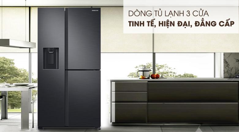 Thiết kế 3 cửa hiện đại, màu sắc tinh tế - Tủ lạnh Samsung Inverter 602 lít RS65R5691B4/SV Mẫu 2019