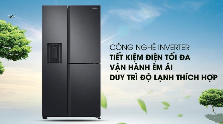 Công nghệ Inverter tiết kiệm điện, giúp tủ lạnh vận hành êm ái - Tủ lạnh Samsung Inverter 602 lít RS65R5691B4/SV Mẫu 2019
