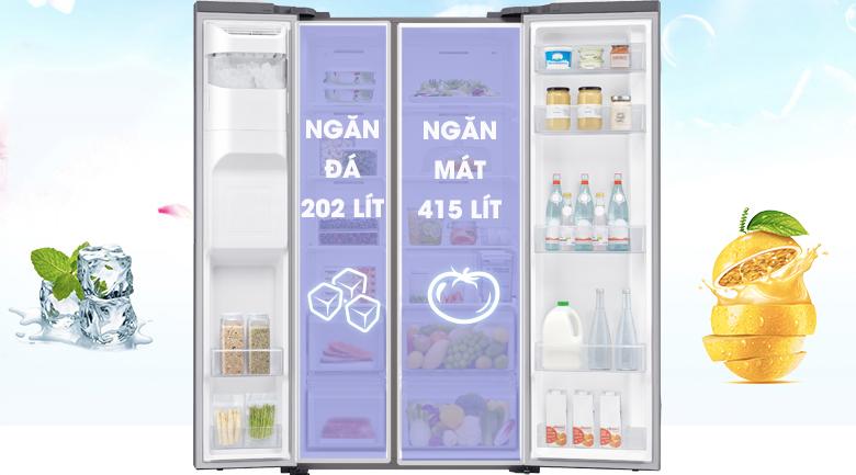 Dung tích sử dụng lên đến 617 lít phù hợp cho gia đình trên 5 thành viên - Tủ lạnh Samsung Inverter 617 lít RS64R5101SL/SV Mẫu 2019