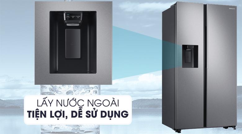 Trang bị hộc lấy đá, nước bên ngoài tiện lợi, tiết kiệm điện - Tủ lạnh Samsung Inverter 617 lít RS64R5101SL/SV Mẫu 2019