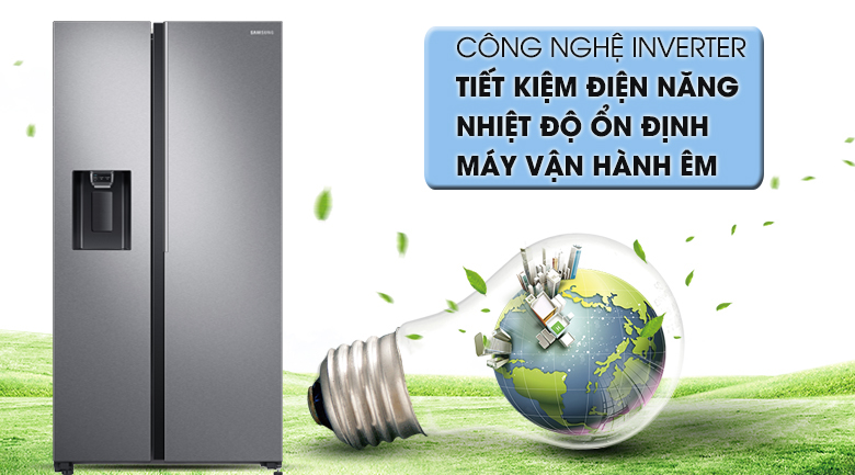 Tích hợp công nghệ Inverter giúp tiết kiệm điện, hoạt động bền bỉ lâu dài - Tủ lạnh Samsung Inverter 617 lít RS64R5101SL/SV Mẫu 2019