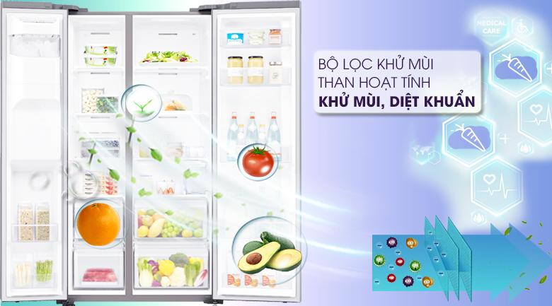 Lọc sạch không khí trong tủ với bộ lọc than hoạt tính - Tủ lạnh Samsung Inverter 617 lít RS64R5101SL/SV Mẫu 2019