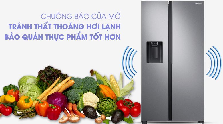 Hệ thống chuông báo động thông minh - Tủ lạnh Samsung Inverter 617 lít RS64R5101SL/SV Mẫu 2019