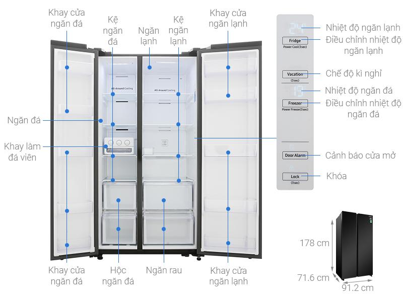 Thông số kỹ thuật Tủ lạnh Samsung Inverter 647 lít RS62R5001B4/SV