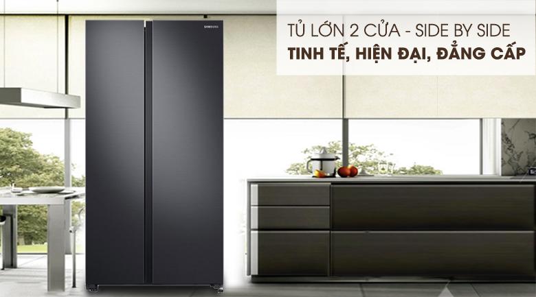 Thiết kế Side by Side đẳng cấp cùng gam màu đen thời thượng - Tủ lạnh Samsung Inverter 647 lít RS62R5001B4/SV Mẫu 2019