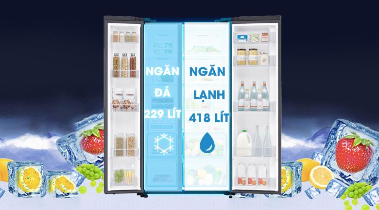 Dung tích 647 lít phù hợp cho gia đình trên 5 người - Tủ lạnh Samsung Inverter 647 lít RS62R5001B4/SV Mẫu 2019