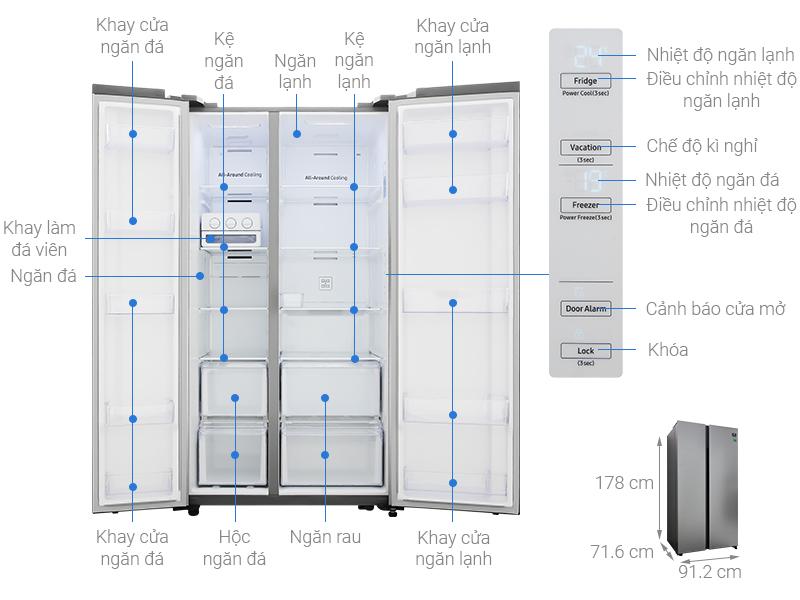 Thông số kỹ thuật Tủ lạnh Samsung Inverter 647 lít RS62R5001M9/SV