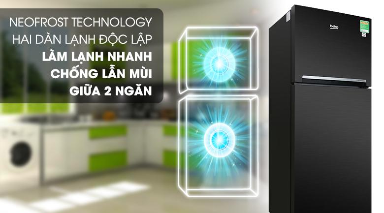 2 dàn lạnh độc lập - Tủ lạnh Beko Inverter 188 lít RDNT200I50VWB