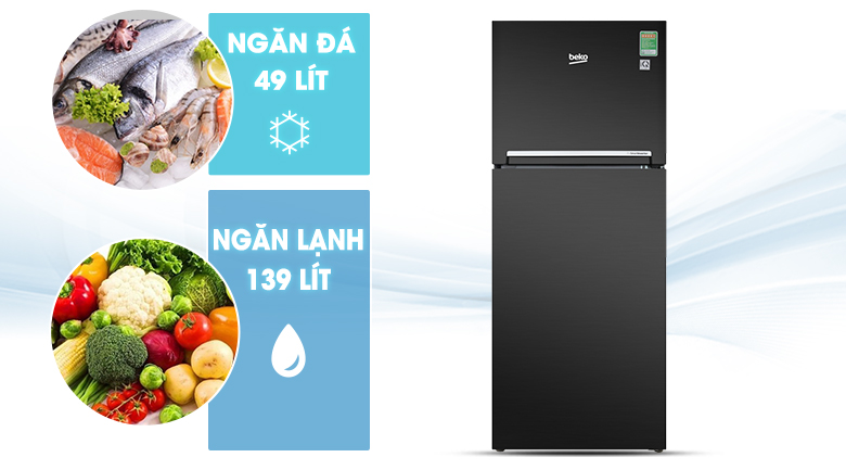 Dung tích 188 lít - Tủ lạnh Beko Inverter 188 lít RDNT200I50VWB