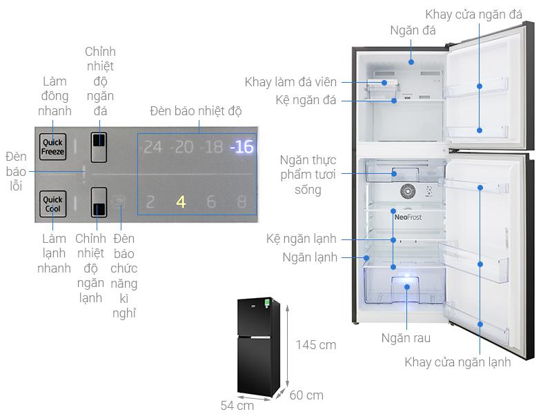 Thông số kỹ thuật Tủ lạnh Beko Inverter 210 lít RDNT231I50VWB