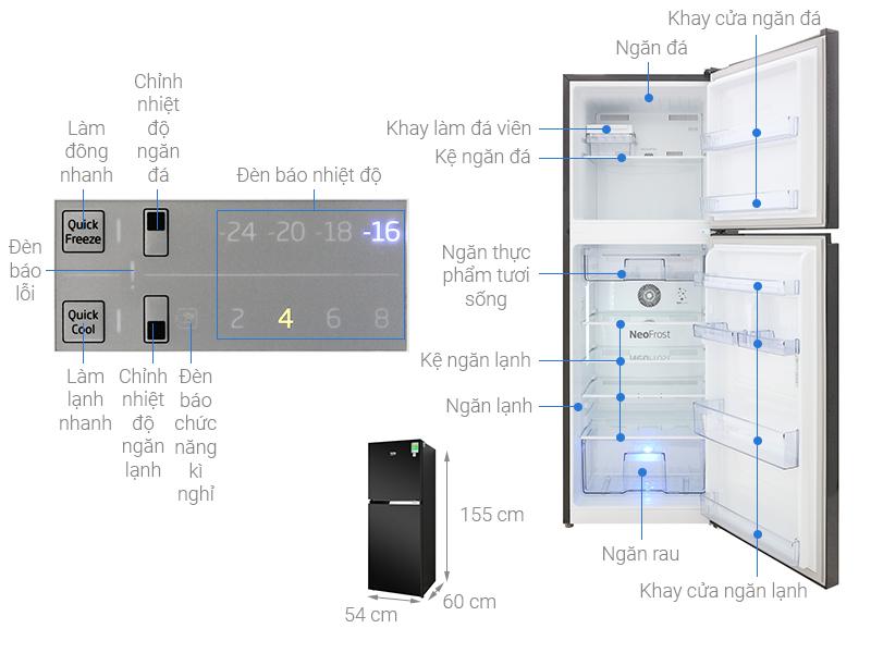 Thông số kỹ thuật Tủ lạnh Beko Inverter 230 lít RDNT251I50VWB