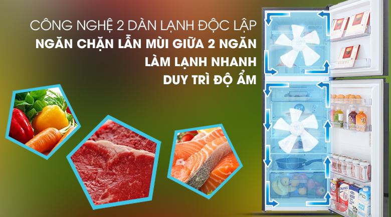 2 dàn lạnh độc lập - Tủ lạnh Beko Inverter 230 lít RDNT251I50VWB