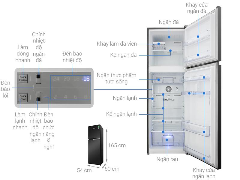 Thông số kỹ thuật Tủ lạnh Beko Inverter 250 lít RDNT271I50VWB