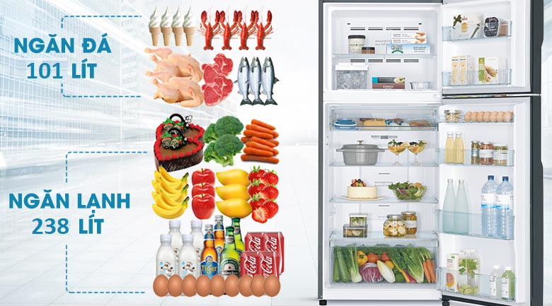 Dung tích 339 lít - Tủ lạnh Hitachi Inverter 339 lít R-FG450PGV8 GBK