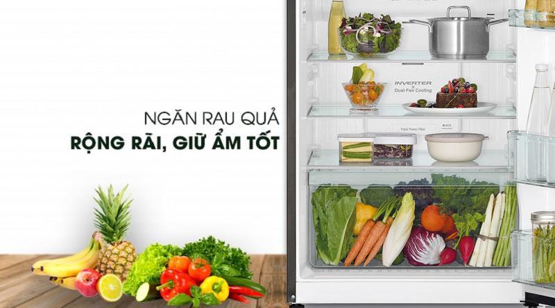 ngăn rau củ quả với khả năng giữ ẩm - Tủ lạnh Hitachi Inverter 406 lít R-FG510PGV8 GBK
