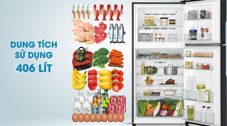 Dung tích sử dụng 406 lít - Tủ lạnh Hitachi Inverter 406 lít R-FG510PGV8 GBW